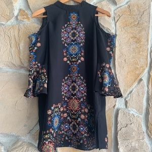 COPY - Meraki Black Floral Cold Shoulder Top